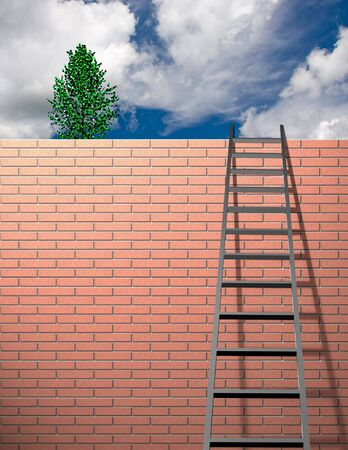 leans: Ladder leans on wall with sky Stock Photo