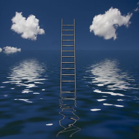 way out: Ladder Rises out of Body of Water Stock Photo