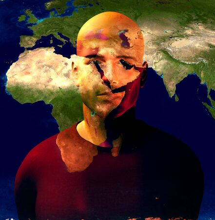 Middle East Superimposed on Mans Face photo