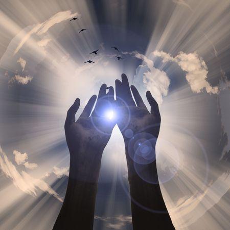 sun energy: Hands reveal light