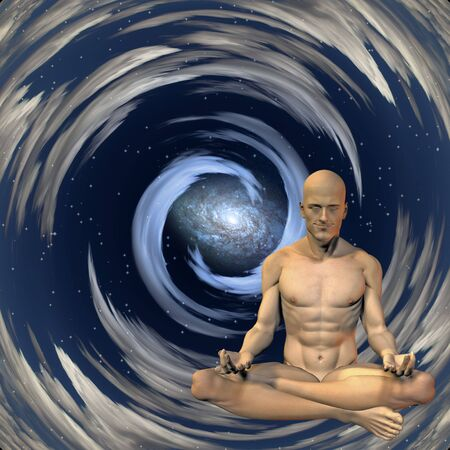 brain mysteries: Meditation man  Stock Photo