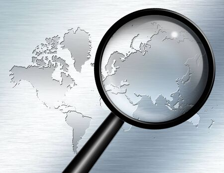 asia map: Magnify Glass focus on Asia