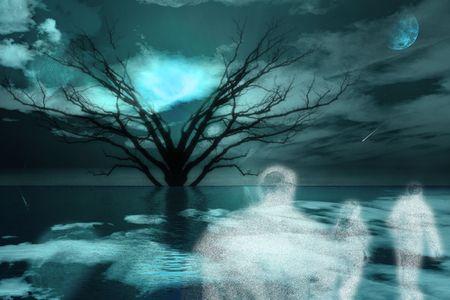 Ghostlike figures journey in landscape photo