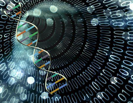 Binäre Tunnel und DNA-Strand  Standard-Bild - 6308144
