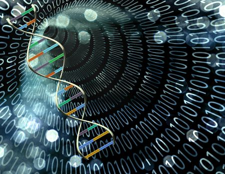 Binary tunnel and DNA Strand Stock Photo - 6308144