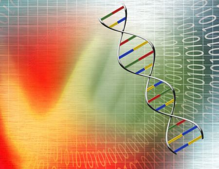 Binary tunnel and DNA Strand Stock Photo - 6308155