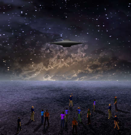 astral: People Gather to View Space Craft Stock Photo