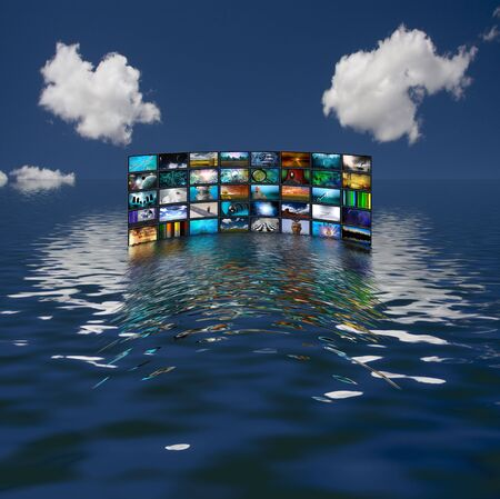 s video: Multiple screens reflected in water
