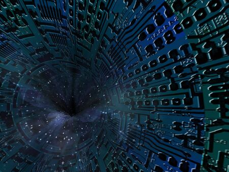 Technology Tunnel Leads into star filled space Stock Photo - 6379009