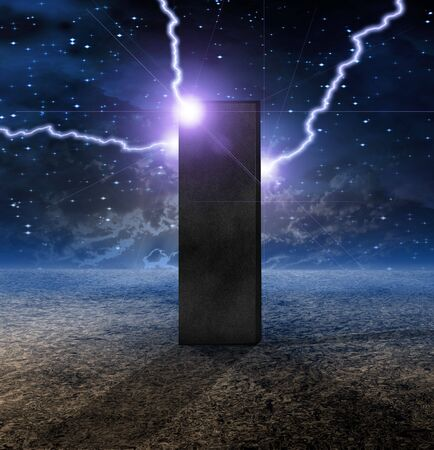 odyssey: Strange Monolith on Lifeless Planet Stock Photo