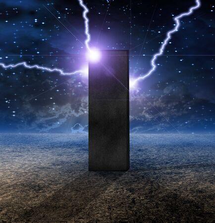 astral: Strange Monolith on Lifeless Planet Stock Photo
