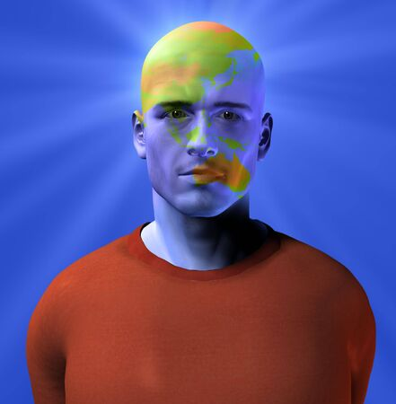 Austrailia superimposed on mans face photo