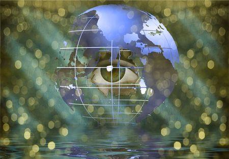 Eye peers through earth Stock Photo - 6409024