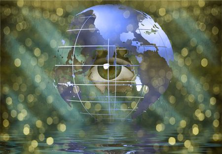 Eye peers through earth Stock Photo - 6409024