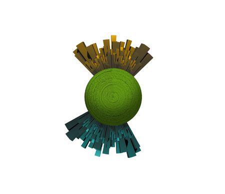 opposing: Opposing Cities on Green Sphere Stock Photo