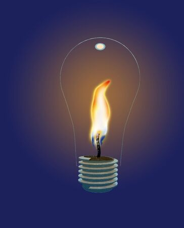 Glass Lightbulb with Flame photo
