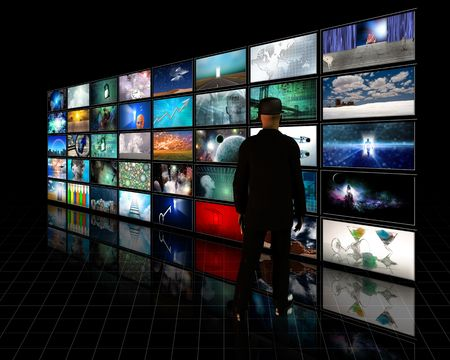 video wall: Tele Screens with viewer