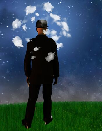 dreamer: Man with his head in the clouds Stock Photo