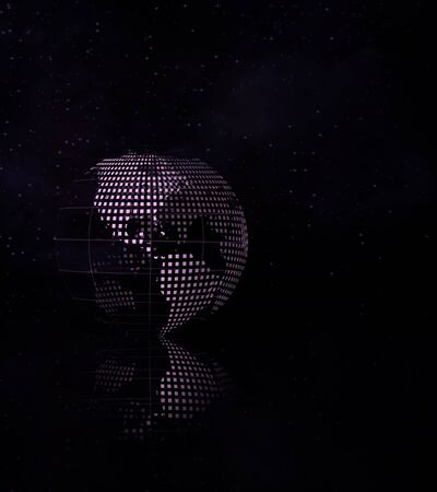 mesh: Mesh Earth and reflection on black surface