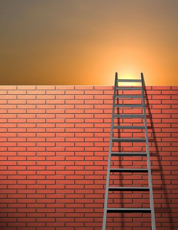 adversity: Ladder leans on wall with sky Stock Photo
