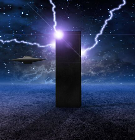 approaches: Alien Craft Approaches Monolith Stock Photo