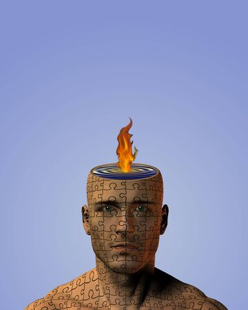 Flame Mind Puzzle Skinned Man photo