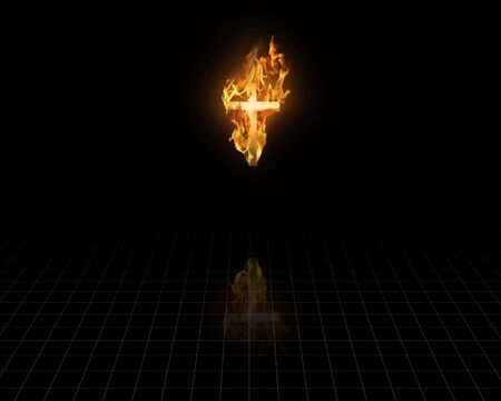 Flaming Cross in the dark photo
