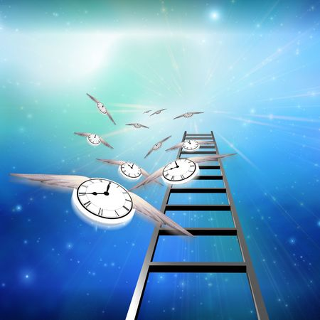 Flying Clocks and Ladder Stock Photo