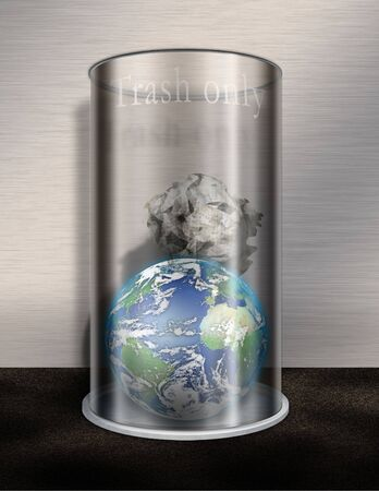 Earth in Trash Only Waste Basket