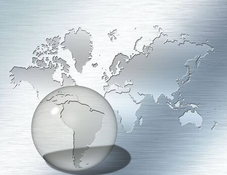 Glass sphere focus on South America photo