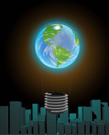 human energy: Light Bulb Earth and city