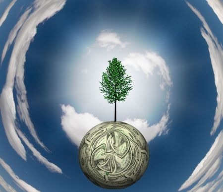 us currency: Tree Grows out of US Currency Sphere