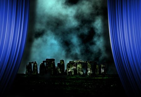 antiquities: Stonehenge landscape and curtains Stock Photo