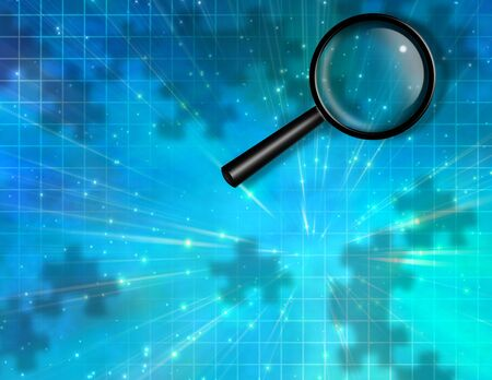 crime solving: Magnify Glass Puzzle Piece Background Stock Photo