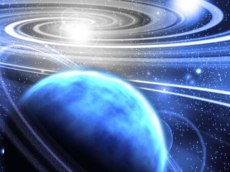 Space with ringed planet Stock Photo - 6630907