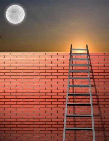 Ladder leans on wall with sky and bright moon photo
