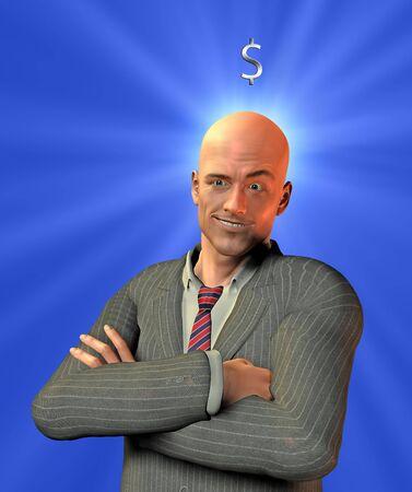 Happy Businessman with Silver US Dollar Symbol photo