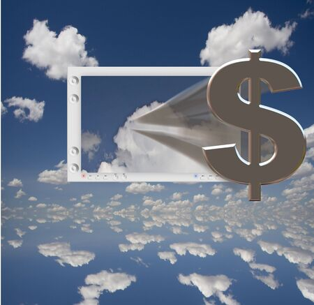 US Dollar Symbol and Flat Panel floats in blue sky photo