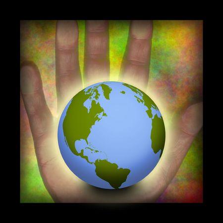 mundo contaminado: Composici�n de la mano y la tierra