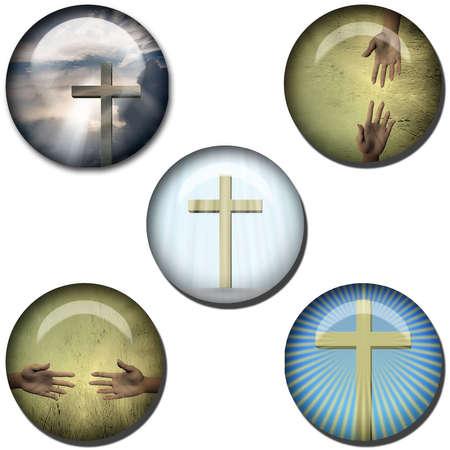 Religious Symbol Web Buttons Stock Photo - 6650888