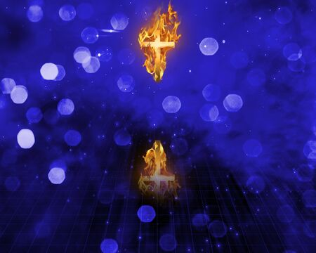 Cross in flames photo