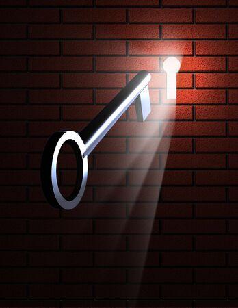 key hole: Key and Keyhole with light
