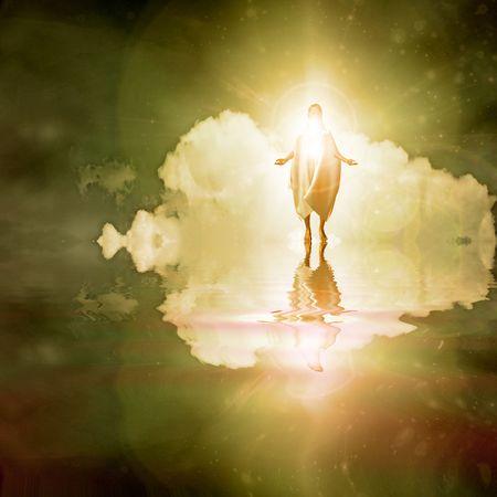 Figure walks on water photo