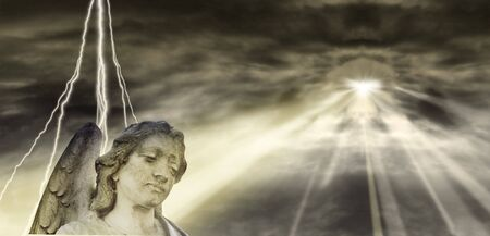 end times: Angel and dramatic Sky