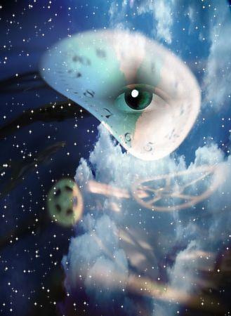 초현실적 인 눈과 시계