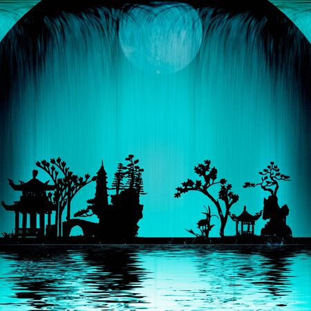 japanese garden: Asia Landscape with Moon Stock Photo