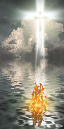 Cross Hangs in Sky over Water with Fire Burning on Waters Surface photo