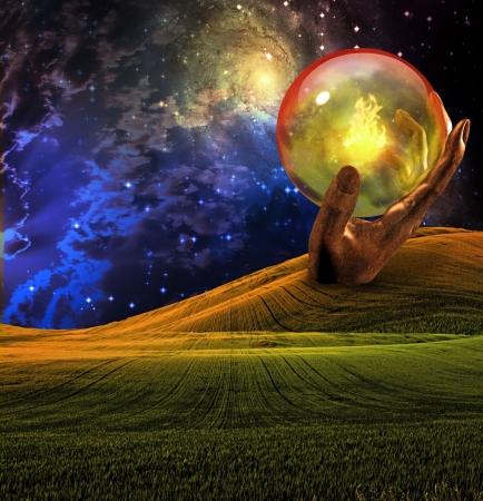 Escultura de la mano con la esfera de cristal  Foto de archivo - 6851088