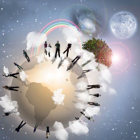 human energy: Eco Earth community Stock Photo