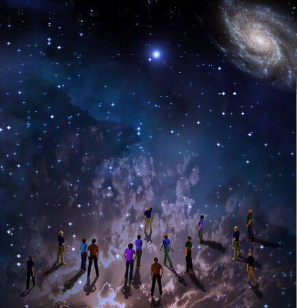 star field: People gather in mystery Sci fi like scene